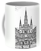 St Louis Cathedral On Jackson Square In The French Quarter New Orleans Photocopy Digital Art Coffee Mug