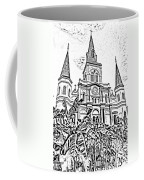 St Louis Cathedral Rising Above Palms Jackson Square New Orleans Photocopy Digital Art Coffee Mug