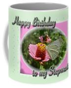 Stepmother Birthday Greeting Card - Butterfly On Flower Coffee Mug