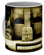 Stone Face - Limestone Windows Column And Bank Create A Misterious Face Coffee Mug