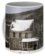 Stone Farmhouse In Snow Coffee Mug by John Stephens