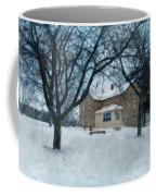 Stone Farmhouse In Winter Coffee Mug