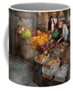 Storefront - Hoboken Nj - Picking Out Fresh Fruit Coffee Mug by Mike Savad