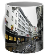 Street In Lucerne With Cycles And Rain Coffee Mug