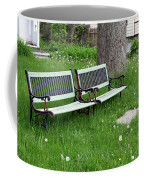 Summer Bench And Dandelions Coffee Mug