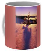 Sun Casting Shadows On Snow Covered Coffee Mug