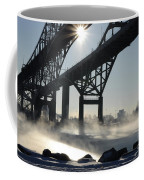 Sunrise Blue Water Bridges Fog Coffee Mug