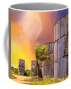 Sunset And Abandoned Oil Tanks Coffee Mug