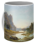 Sunset Over A River Landscape Coffee Mug by Francis Danby