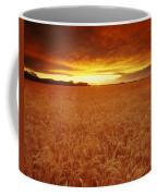 Sunset Over Wheat Field Coffee Mug