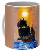 Sunship Galleon On Wood Coffee Mug