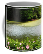 Swans On Pond And Hibiscus With Oil Painting Effect Coffee Mug