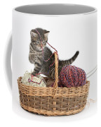 Tabby Kitten Playing With Knitting Wool Coffee Mug