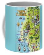 Tampa Florida Cartoon Map Coffee Mug