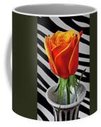 Tea Rose In Striped Vase Coffee Mug