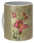 Textured Red Daylilies Coffee Mug