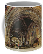 The Interior Of The Lower Basilica Of St. Francis Of Assisi Coffee Mug by Thomas Hartley Cromek