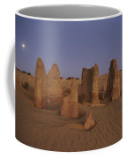The Moon Rises Over Limestone Pinnacles Coffee Mug
