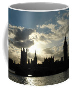 The Outline Of Big Ben And Westminster And Other Buildings At Sunset Coffee Mug