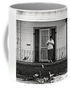 The Pigeon Lady - Black And White Coffee Mug