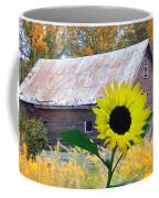 The Sunflower And The Barn Coffee Mug