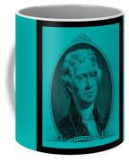 Thomas Jefferson In Turquois Coffee Mug by Rob Hans