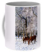 Thoroughbred Horses, Mares In Snow Coffee Mug