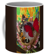 Three Butterflies On Protea Coffee Mug
