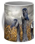 Three Canada Geese In An Autumn Cornfield Coffee Mug