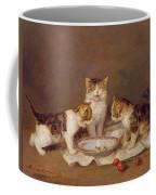 Three Cats - Red Cherries And Bees Coffee Mug