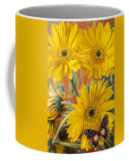 Three Daisy's And Butterfly Coffee Mug