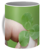 Three Leaf Clover In A Hand Coffee Mug