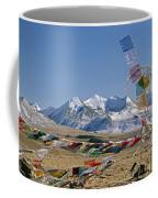 Tibetan Buddhist Prayer Flags Atop Pass Coffee Mug