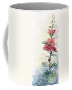 Touch Of Summer Hollyhocks Watercolor Coffee Mug