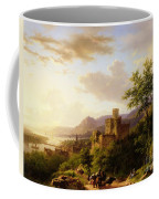 Travellers On A Path In An Extensive Rhineland Landscape Coffee Mug