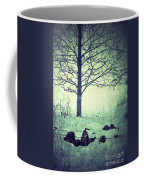 Tree And Fence In The Fog And Snow Coffee Mug