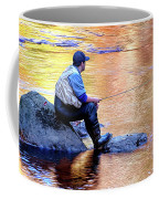 Trout Fisherman In Autumn Coffee Mug