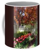 Tulips By Dappled Fence Coffee Mug
