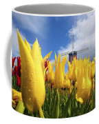 Tulips In A Field And A Windmill At Coffee Mug
