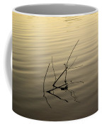 Twigs Breaking The Calm Surface Of The Lake On Sunset Coffee Mug