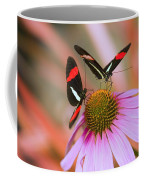 Two Colorful Butterflies On Cone Flower Coffee Mug