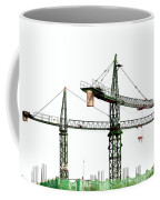 Two Cranes On A Construction Site Coffee Mug by Yali Shi