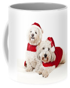 Two Cute Dogs In Santa Outfits Coffee Mug