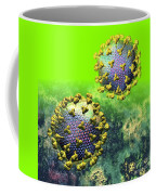 Two Hiv Particles On Bright Green Coffee Mug