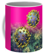 Two Hiv Particles On Hot Pink Coffee Mug