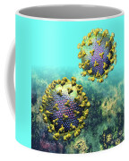 Two Hiv Particles On Light Blue Coffee Mug