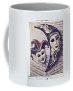 Two Masks On Sheet Music Coffee Mug