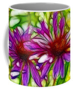 Two Purple Daisy's Fractal Coffee Mug