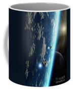 Two Survey Craft Orbit A Terrestrial Coffee Mug by Brian Christensen