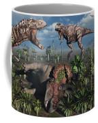 Two T. Rex Dinosaurs Confront Each Coffee Mug by Mark Stevenson